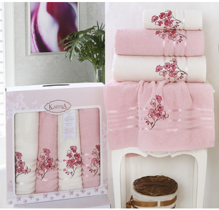 Набор полотенец Karna Papilon (светло-розовый, 4 предмета)