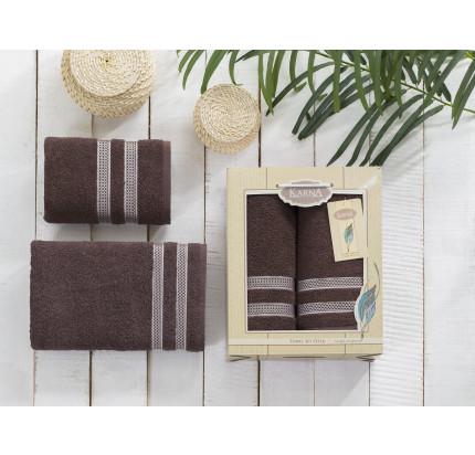 Набор полотенец Karna Petek (коричневый, 2 предмета)