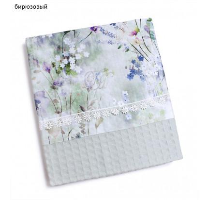 Вафельное пике Tivolyo Home Polina с кружевом (бирюзовое)