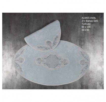 Набор ковриков Karven Alanis Oval бирюзовый (50x60+60x100)