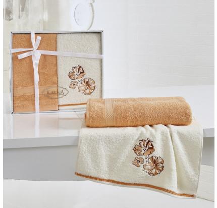 Набор полотенец Karna Rodos (абрикосовый, 2 предмета)