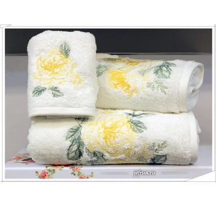 Набор полотенец Tivolyo Rose Nakisli (белый-желтый) 3 предмета
