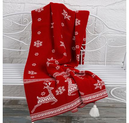 Плед вязаный Arya Rudolph (красный) 130x170