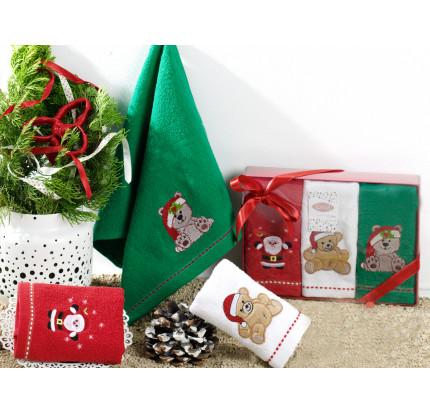 Салфетки махровые с вышивкой Karna Noel V2 (30x50, 3 предмета)