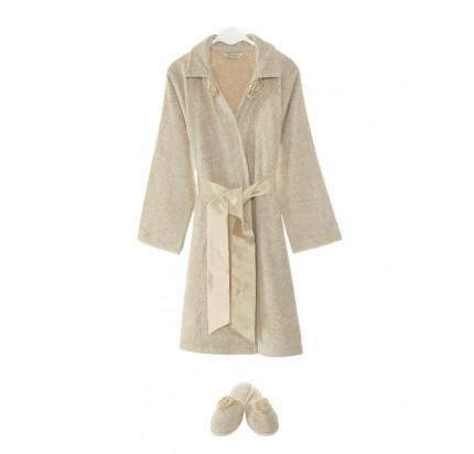 Набор халат + тапочки Soft Cotton Rose (карамельный)