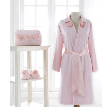 Набор халат + тапочки Soft Cotton Rose (розовый)