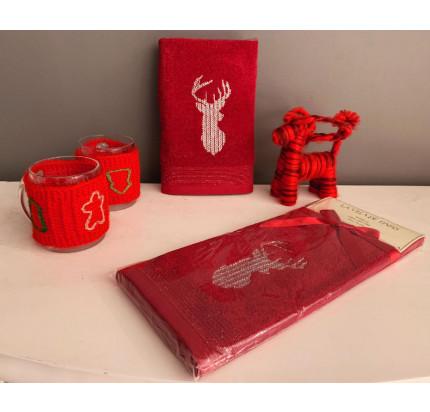 Новогоднее полотенце-салфетка La Villa Semli Geyik (бордовый)