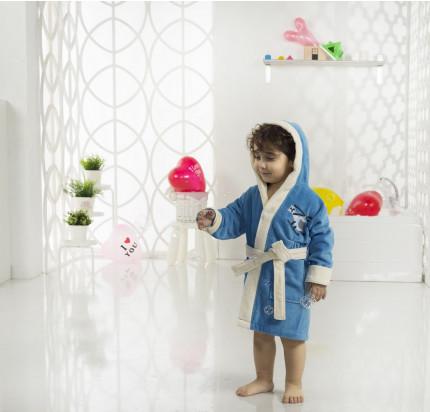 Karna Snop детский халат с капюшоном (синий-саксен)