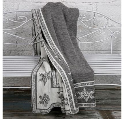 Плед вязаный Arya Snowflake (серый) 130x170