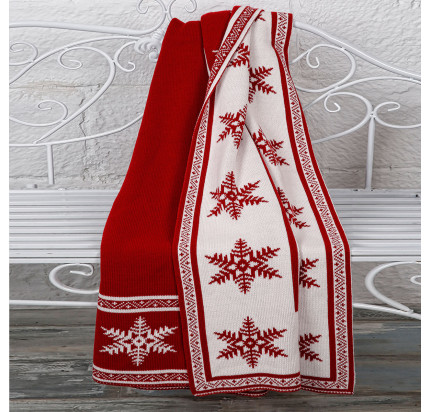 Плед вязаный Arya Snowflake (красный) 130x170