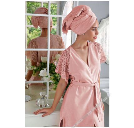 Халат Tivolyo San Tropez (розовый) размер S-M + полотенце 50x100
