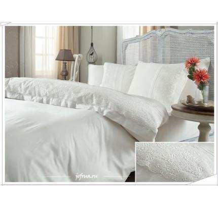 Свадебное постельное белье Gelin Home Narin (белое) евро