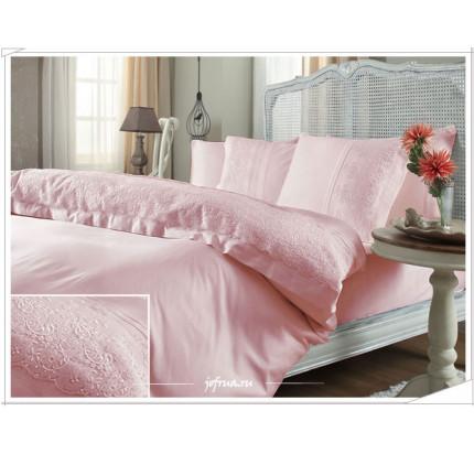 Свадебное постельное белье Gelin Home Narin (розовое) евро