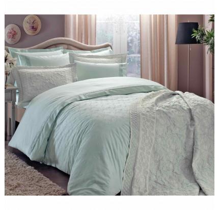 Комплект постельного белья с покрывалом TAC Sunshine (мятный) евро
