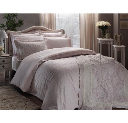 Комплект постельного белья с покрывалом TAC Sunshine (розовый) евро