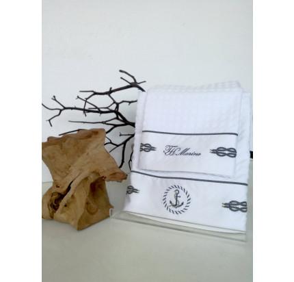 Набор вафельных полотенец Tivolyo Home Ancora (белый, 2 предмета)