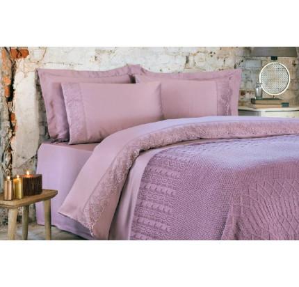 Набор Tivolyo Home Lina (постельное белье + плед) фиолетовый евро