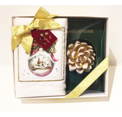 Новогодний набор Tivolyo Home Snowball (салфетка 30х50 + свеча)