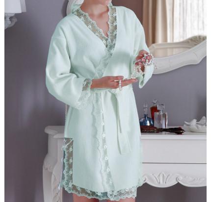 Халат Tivolyo Home Bianca (бирюзовый) размер S-M + полотенце 50x100