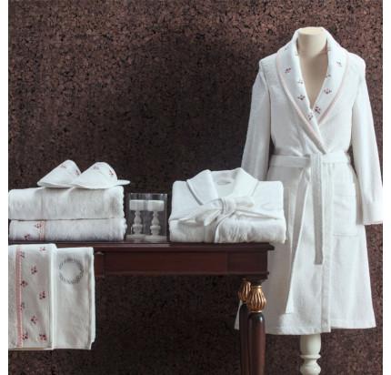 Подарочный набор Tivolyo Piccolo S-M розовый (халат + тапочки + полотенце)