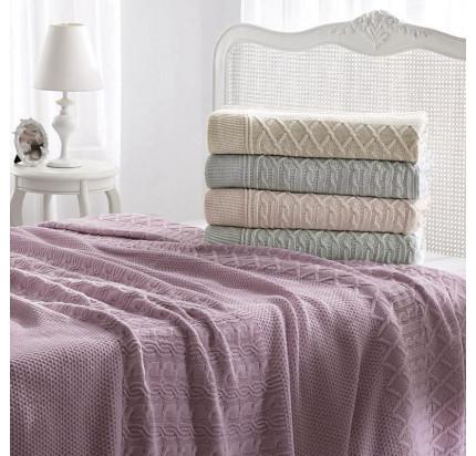 Вязаный плед Tivolyo Home Luna (фиолетовый) 220x250