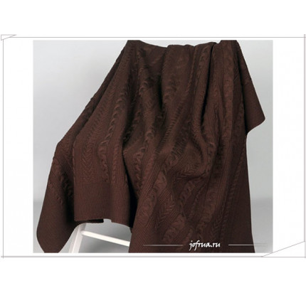 Вязаный плед Valtery Коса (шоколадный)