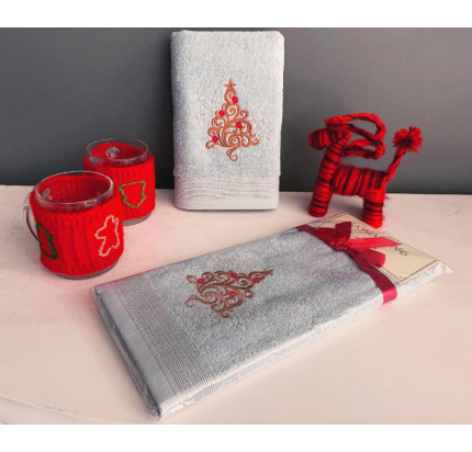 Новогоднее полотенце-салфетка La Villa Yilbasi Agasi (голубой)