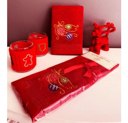 Новогоднее полотенце-салфетка La Villa Yilbasi Susu (бордовый)
